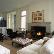 The view of a living room - The ceiling, fireplace, furniture, hearth, home, interior design, living room, room, window, gray