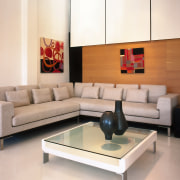View of the lounge furniture - View of angle, coffee table, couch, floor, flooring, furniture, interior design, living room, product design, room, sofa bed, table, wall, white