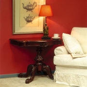 View of the furniture - View of the coffee table, end table, floor, furniture, interior design, living room, room, table, wall, red