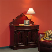 View of the furniture int htis home - chest of drawers, end table, furniture, nightstand, sideboard, table, red