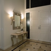 View of the entrance way to this house bathroom accessory, cabinetry, floor, flooring, home, interior design, room, gray, brown