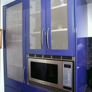 View of the cabinetry & microwave - View home appliance, major appliance, blue, gray
