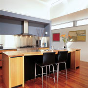 View of the kitchen colour coordination - View cabinetry, countertop, cuisine classique, floor, flooring, furniture, hardwood, interior design, kitchen, real estate, room, table, wood flooring