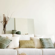 View of the living room - View of couch, furniture, home, interior design, living room, room, table, wall, wood, white