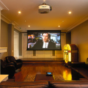 View of this home theatre system - View ceiling, conference hall, interior design, room, brown