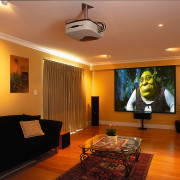View of the home theatre system - View ceiling, home, interior design, lighting, living room, real estate, room, wall, brown, orange