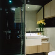 The view of a bathroom - The view architecture, bathroom, glass, interior design, room, black