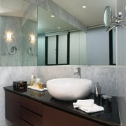 The view of a master bathroom of an bathroom, ceiling, countertop, interior design, room, sink, gray, black