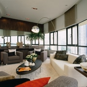 The view of a lounge in an apartment ceiling, interior design, living room, lobby, real estate, window, gray, black