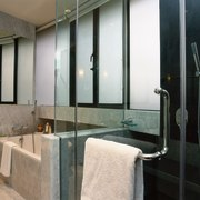 The view of a bathroom - The view bathroom, glass, interior design, plumbing fixture, room, wall, window, black, gray
