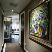 The view of a hallway with artwork. - art, interior design, modern art, window, black, gray