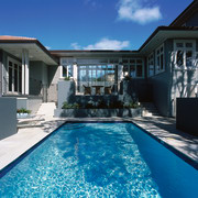 Pool area of weatherboard house with boxed gardens backyard, estate, facade, home, house, mansion, property, real estate, residential area, resort, resort town, swimming pool, villa, water, window, blue, black