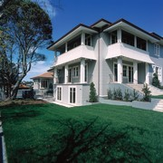 Two storey weatherboard house with large green lawn, cottage, elevation, estate, facade, farmhouse, grass, historic house, home, house, lawn, mansion, neighbourhood, property, real estate, residential area, siding, suburb, villa, window, yard