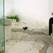 view of the calacatta classico marble flooring and bathroom, floor, flooring, interior design, plumbing fixture, property, room, tap, tile, wall, white