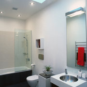 The view of a bathroom featuring a basin bathroom, ceiling, daylighting, glass, interior design, product design, room, window, gray