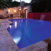 Broad view of the pool - Broad view backyard, floor, leisure, light, lighting, property, real estate, reflection, swimming pool, water, water feature, blue