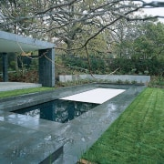 View of the pool's protection cover - View architecture, house, reflecting pool, reflection, swimming pool, water, water resources, gray