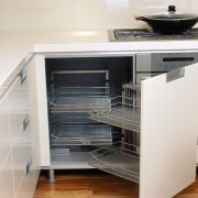 View of the storage cabinetry designed by Fyfe countertop, drawer, furniture, home appliance, kitchen, kitchen appliance, kitchen stove, major appliance, white