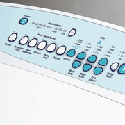 Close up of washing machine control panel - font, product, product design, technology, white
