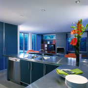 A colourful kitchen overlooking the lounge area - ceiling, countertop, interior design, kitchen, room, gray, blue