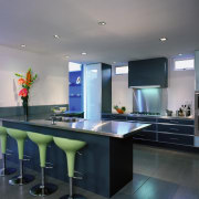 Angled view of the kitchen - Angled view ceiling, countertop, interior design, kitchen, room, table, gray, black
