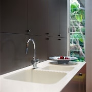 Outlook of the kitchen sink & tapware - bathroom, countertop, glass, interior design, plumbing fixture, product design, sink, tap, black