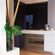 Outlook of the kitchen oven & it's splashback furniture, interior design, table, black, white