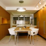Overall view of the Kitchen - Overall view ceiling, dining room, interior design, kitchen, real estate, room, table, brown, orange