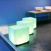 Electric light cubes demonstrate the use of various coffee table, furniture, glass, product design, table, blue