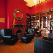 The view of a study - The view furniture, interior design, living room, red, black