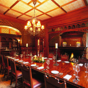 The view of a dining room - The dining room, function hall, interior design, restaurant, red