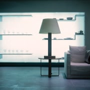 The homewares department is laid out with a daylighting, floor, furniture, interior design, lamp, light, light fixture, lighting, product design, shelf, table, wall, window, black, white