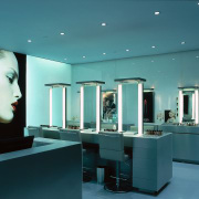 Cosmetics are displayed in this part of the ceiling, interior design, product design, teal