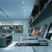 The book department of the store is designed architecture, glass, interior design, product design, teal, gray