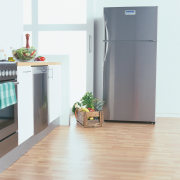 Stylish Refrigerator in kitchen setting. - Stylish Refrigerator floor, flooring, hardwood, home appliance, kitchen appliance, laminate flooring, major appliance, product, refrigerator, white, gray
