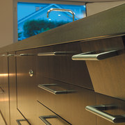 The detail of pull down drawers that conceal architecture, floor, furniture, glass, interior design, lighting, product design, table, brown