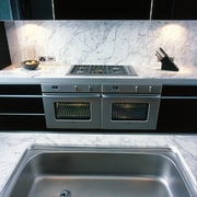 View of the appliance - View of the countertop, floor, home appliance, kitchen stove, black, white, gray