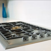 Close-up view of the cooktop - Close-up view product design, white, gray