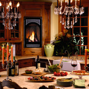 A fireplace in the kitchen - A fireplace dining room, furniture, home, interior design, room, table, red, brown