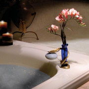 View of the soap holder - View of flower, still life photography, table, tap, gray, brown