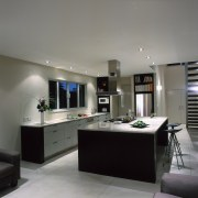 view if the kitchen and island - view countertop, interior design, kitchen, real estate, room, gray