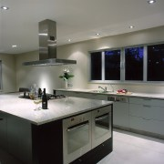 view of the kitchen and island - view cabinetry, ceiling, countertop, interior design, kitchen, gray, black