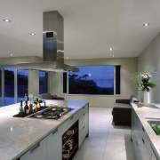 view of the kitchen and living room - ceiling, countertop, interior design, kitchen, real estate, gray