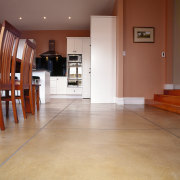Sandstone coloured polished concrete floor laid to resemble ceiling, floor, flooring, hardwood, home, interior design, laminate flooring, lobby, real estate, tile, wood, wood flooring, brown, orange