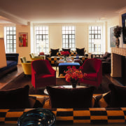 View of the living room area, a black furniture, home, interior design, living room, lobby, room, black