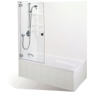 Shower over white bath with shower mixer. - angle, bathroom sink, plumbing fixture, product, product design, tap, white
