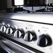 Freestanding gas oven and cooktop. - Freestanding gas electronics, gas stove, home appliance, kitchen appliance, major appliance, black, white