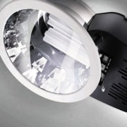 Close view of the Philips Europa2 downlight - automotive lighting, lighting, product design, white, gray