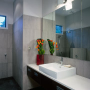 The view of the family bathroom of a architecture, bathroom, interior design, room, sink, gray