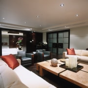 Overview of the lounge area - Overview of ceiling, interior design, living room, property, real estate, room, gray, black